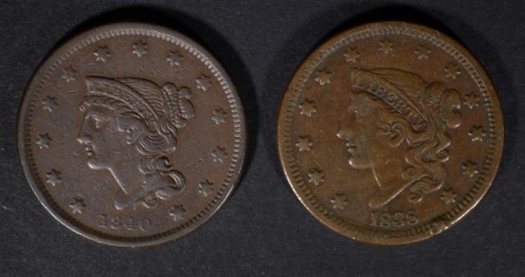 1838 F/VF & 1840 VF U.S. LARGE CENTS