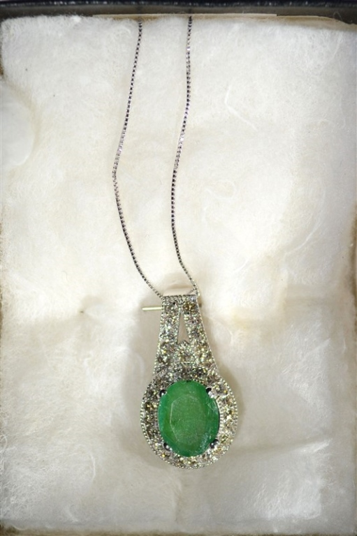 EMERALD PENDANT w/DIAMONDS 14k WHITE GOLD