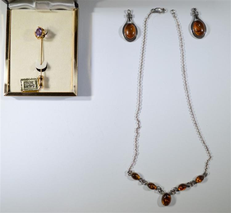 AMBER NECKLACE & EARRING STERILING SILVER