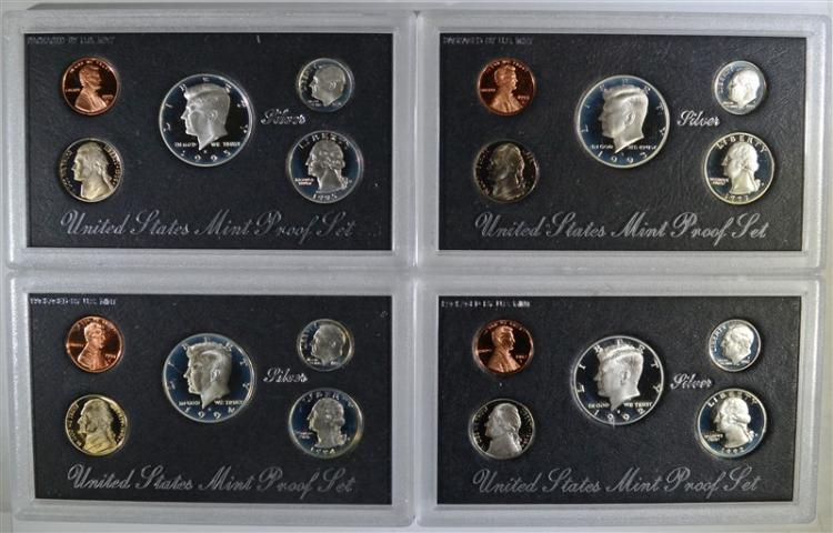 SILVER PROOF SETS: 1992, 1993, 1994, 1995
