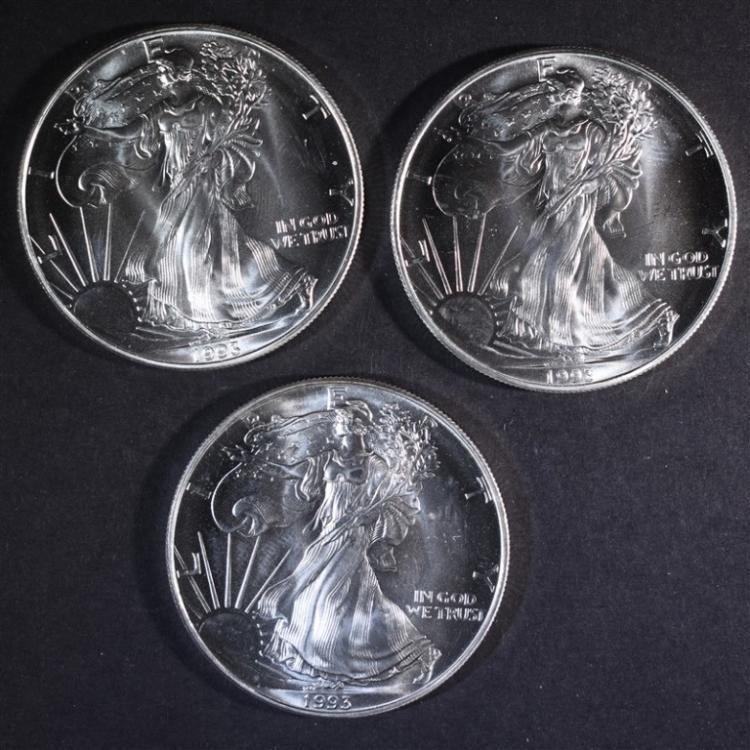 3-BU 1993 AMERICAN SILVER EAGLES