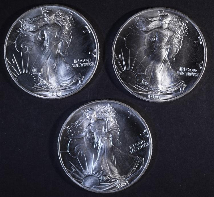 3-BU 1991 AMERICAN SILVER EAGLES