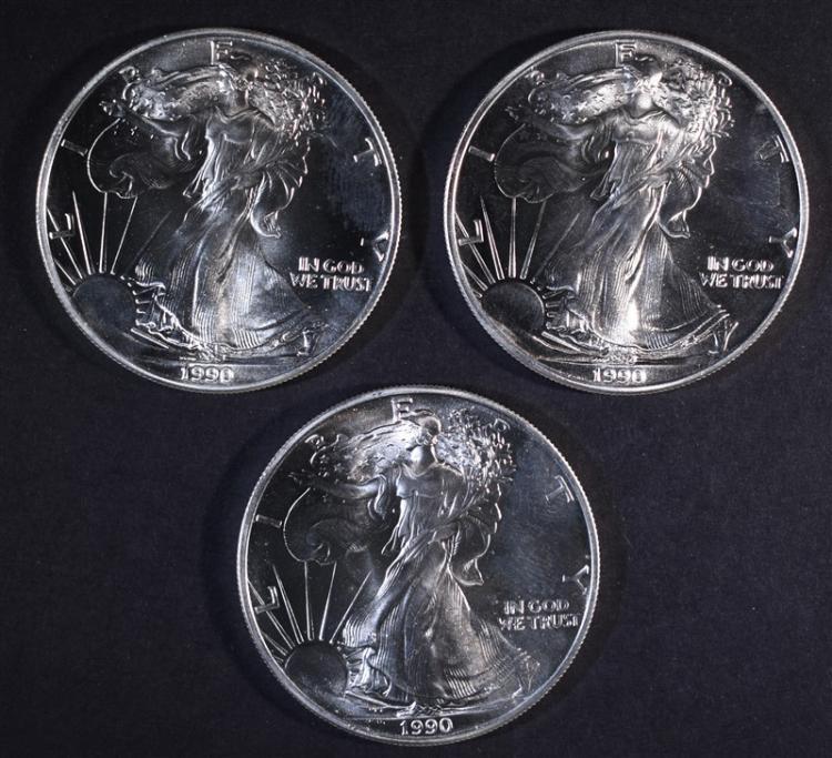 3-BU 1990 AMERICAN SILVER EAGLES