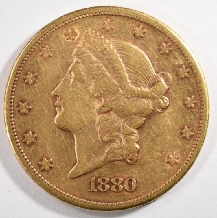 1880-S $20.00 GOLD LIBERTY, XF/AU