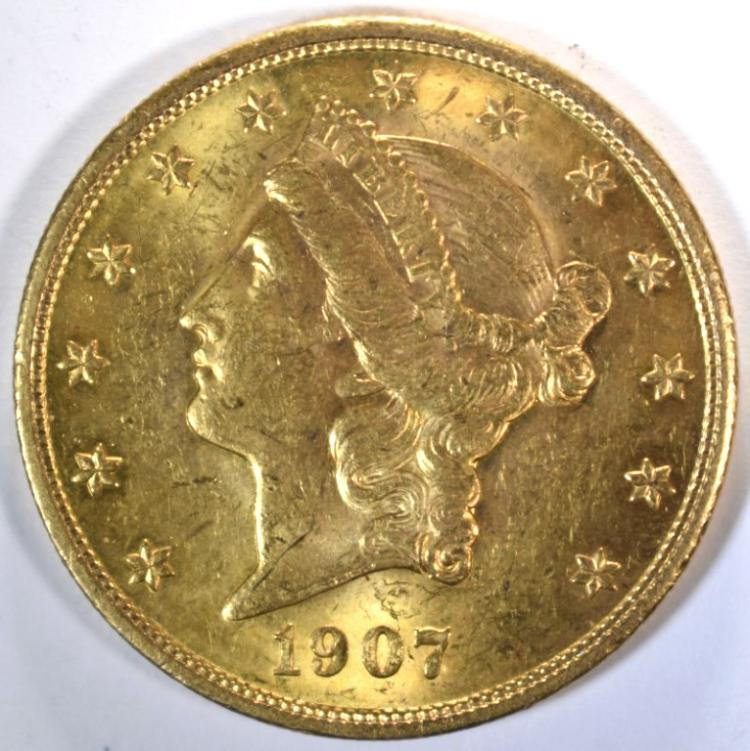 1907 $20.00 LIBERTY GOLD, CH BU