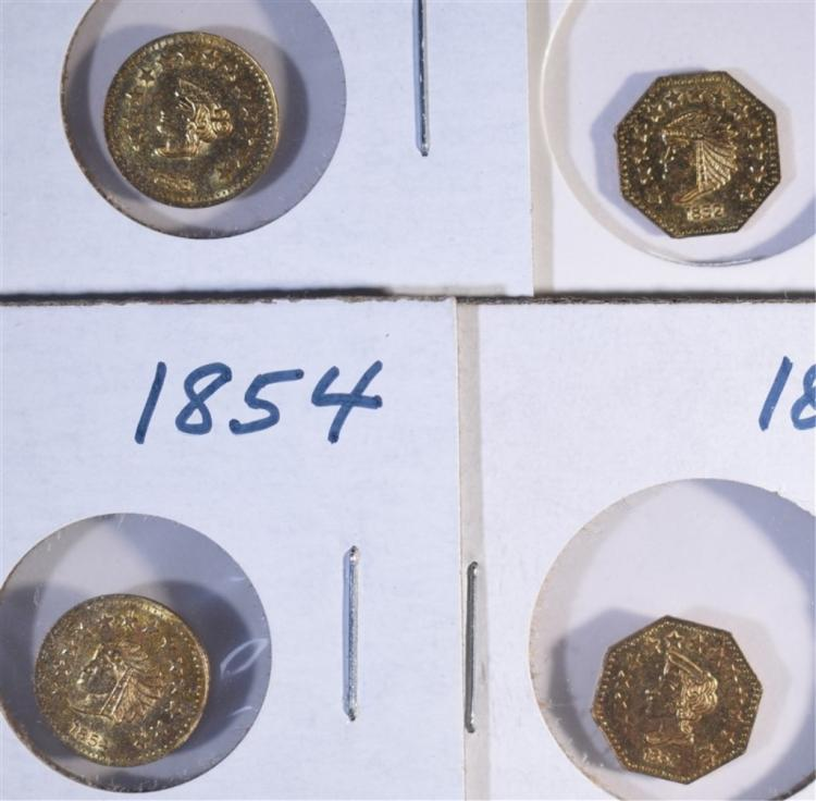 CALIFORNIA GOLD TOKENS: 1852, 1853, 1854 & 1857