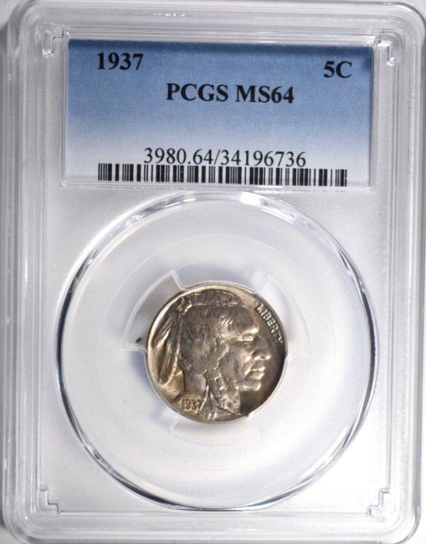 1937 BUFFALO NICKEL, PCGS MS64