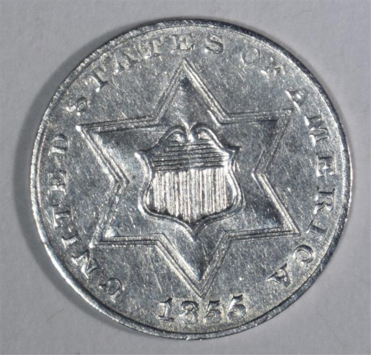 1855 THREE CENT SILVER BU T-2