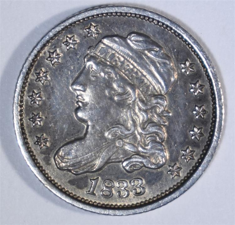 1833 HALF DIME CH AU/UNC