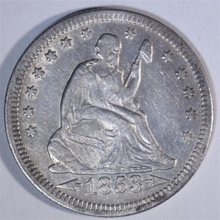 1853 ARROWS & RAYS SEATED LIBERTY QUARTER XF+