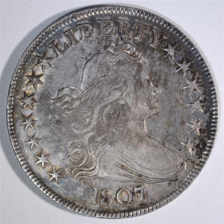 1807 DRAPED BUST HALF DOLLAR XF-AU