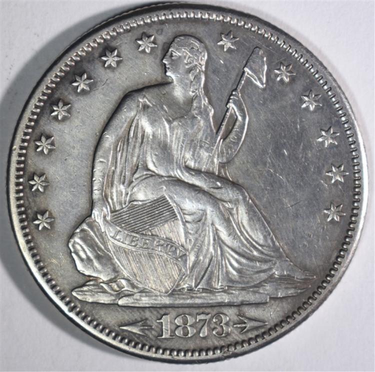 1873-CC ARROWS SEATED LIBERTY HALF DOLLAR AU