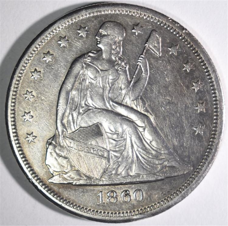 1860-O SEATED LIBERTY DOLLAR AU