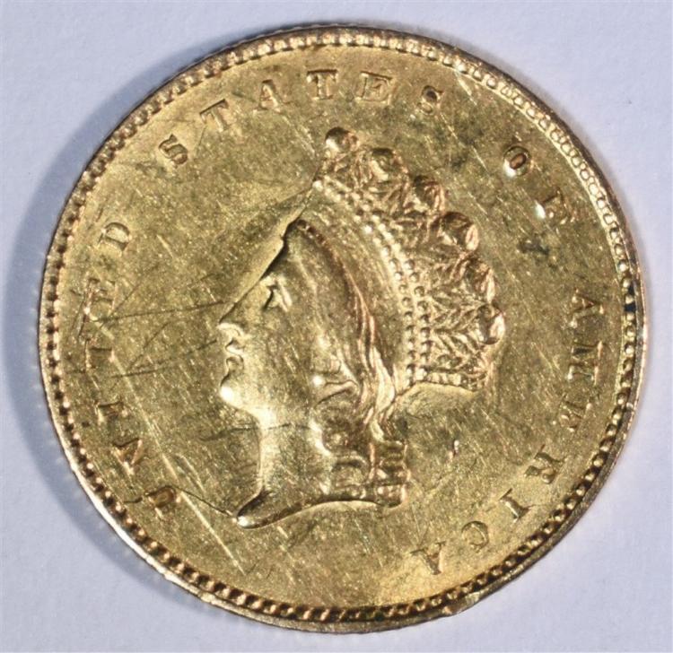 1855 T-2 $1 GOLD NICE AU