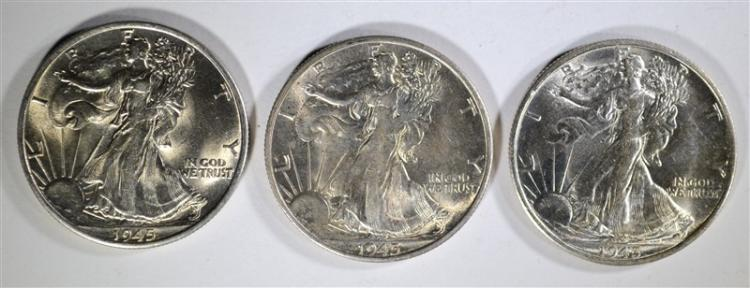 3-1945-S WALKING LIBERTY HALF DOLLARS, CH BU