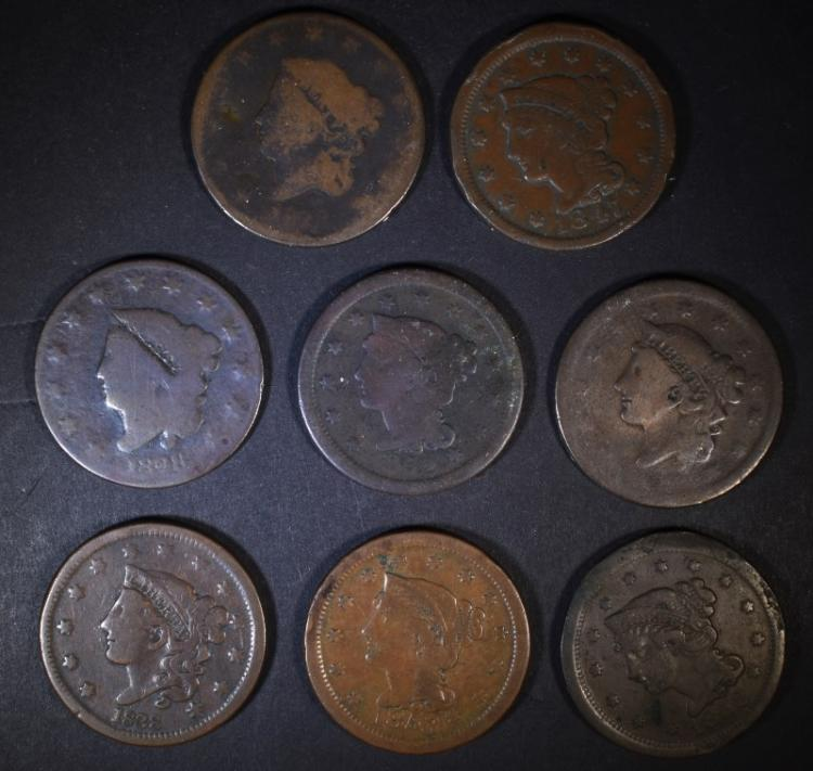 8 LARGE CENTS MIXED DATES