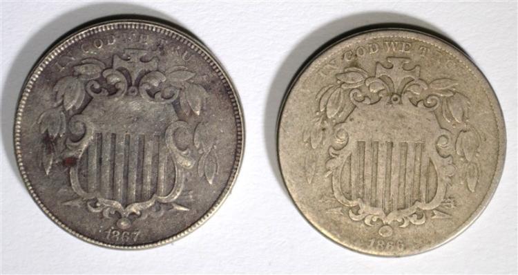 1866 RAYS FINE & 1867 RAYS VF, SHIELD NICKELS