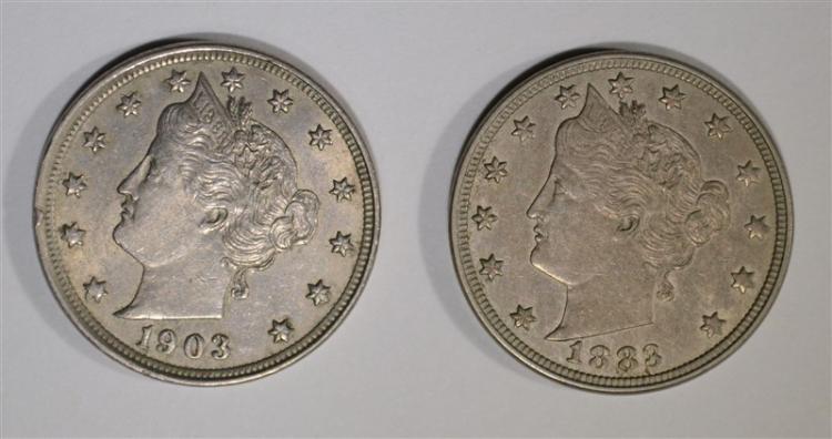 1883 CH BU & 1903 AU LIBERTY NICKELS