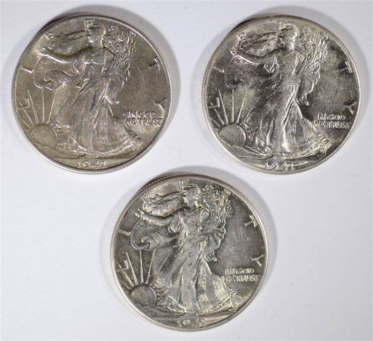 3 - 1941 WALKING LIBERTY HALF DOLLARS