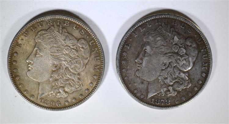 1878 REV 79 VF *& 1896 CH BU MORGAN DOLLARS