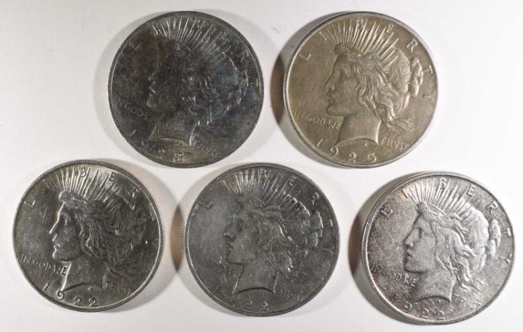 5-CIRC PEACE DOLLARS: 2-1922, 1-23, 1-25 & 1-22-D