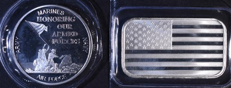 HONORING MILITARY & AMERICAN FLAG 1oz .999 SILVER