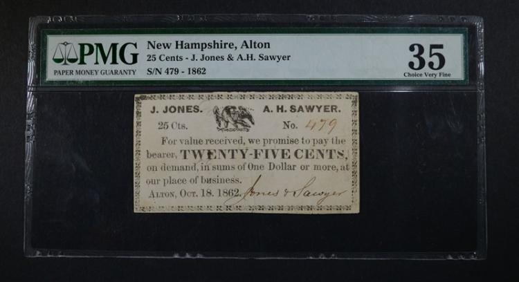 1862 25 CENTS ALTON, NEW HAMPSHIRE
