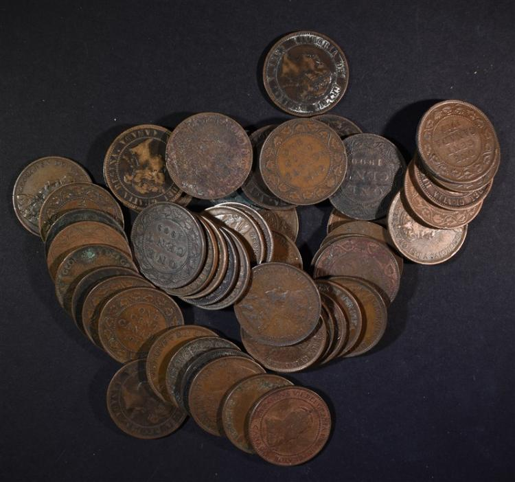 50 MIXED DATE CANADIAN LARGE CENTS