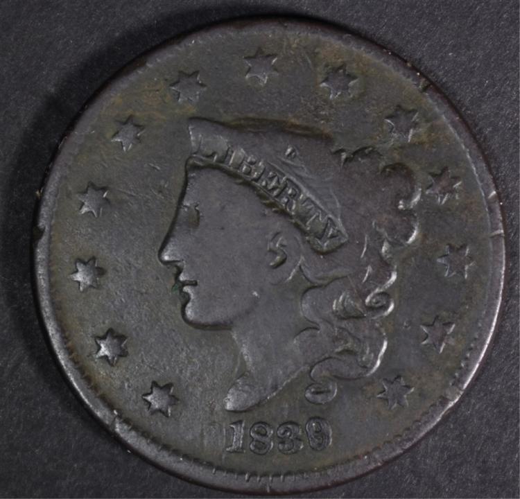 1839/6 LARGE CENT VG+