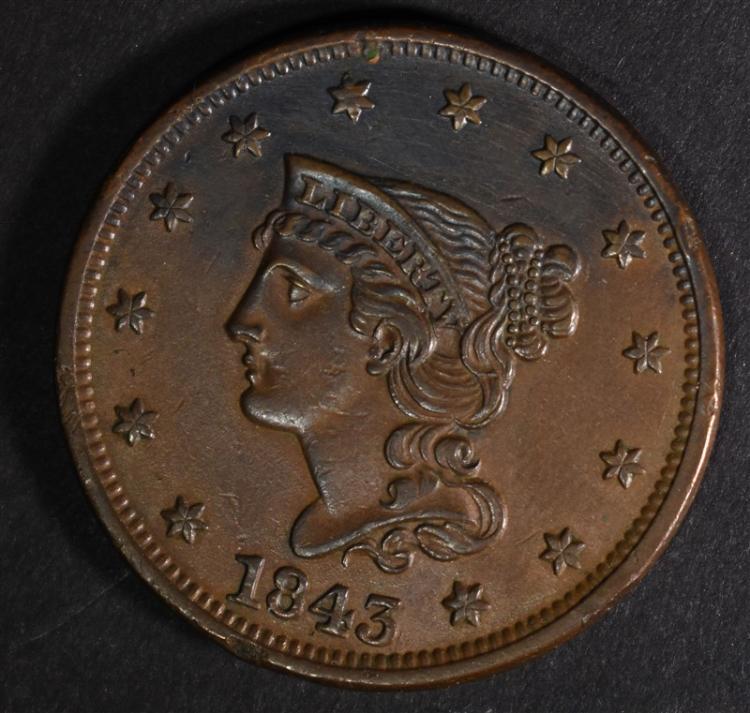 1843 LARGE CENT AU/BU