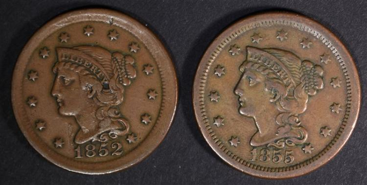 1852 & 1855 LARGE CENTS VF+