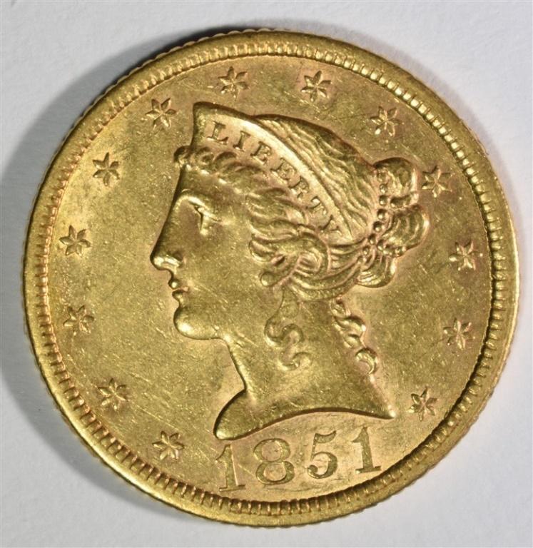 1851 $5 GOLD LIBERTY BU