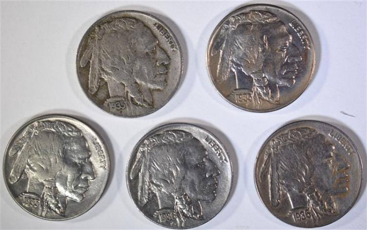 5 BUFFALO NICKELS: 1935-D VF, 1935 AU,