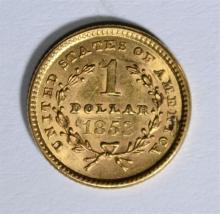 1853 TYPE-1 $1.00 GOLD , CH BU ORIGINAL