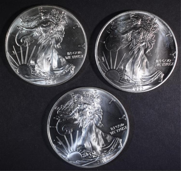 1993, 2014 & 2015 BU AMERICAN SILVER EAGLES