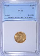 1905 $2.50 GOLD LIBERTY NNC GEM UNC  LITE RED TONE OUTSTANDING SURFACES