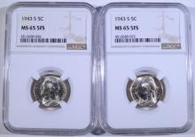 (2) 1943-S JEFFERSON SILVER NICKELS NGC MS-65  5 FULL STEPS