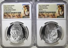 2 - 2017 CHAD LION SILVER $5000 FRANC EARLY RELEASES - BOTH NGC MS70 & PF69 UCAM