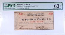 1862 FIFTY CENTS WESTERN & ATLANTIC R.R. PMG 63EPQ CIVIL WAR USED