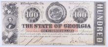 1863 $100 STATE OF GEORGIA HIGH DENOMINATION FULLY ISSUED CIVIL WAR CURRENCY