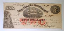 1864 CIVIL WAR ERA $2.00 STATE OF MISSISSIPPI NOTE CU!!  SCARCE NOTE