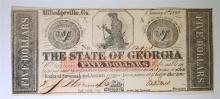 1862 THE STATE OF GEORGIA ( MILLEDGEVILLE )   NOTE, CU  CIVIL WAR ERA