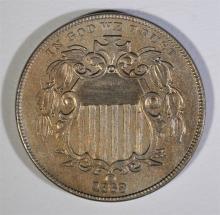 1869 SHIELD NICKEL, AU  NICE