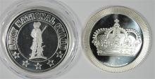 ( 2 ) DIFFERENT ONE OUNCE .999 SILVER ROUNDS: