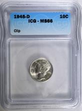 1945-D MERCURY DIME, ICG MS-66 MINT ERROR CLIP
