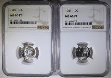 1951 & 1964 ROOSEVELT DIMES, NGC MS-66 FULL TORCH