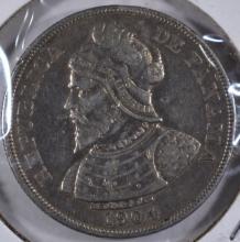 Panama 1904 50 Centesimos Scarce Silver Coin, Balboa