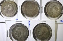 5 - SILVER GREAT BRITAIN HALF CROWNS; 1928, 1932, 1937, 1941, 1945