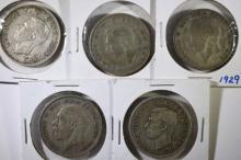 5 - SILVER GREAT BRITAIN HALF CROWNS; 1929, 1933, 1938, 1942, 1946
