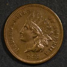 1873 INDIAN HEAD CENT OPEN 3 AU/UNC